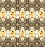 Seamless Floral Animals Pattern G Stock Photos