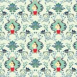 Seamless Floral Animals Pattern H Royalty Free Stock Photos
