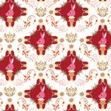 Seamless Floral Animals Pattern K Stock Photos