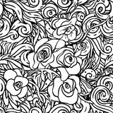 Seamless floral background. Seamless black and white floral background Royalty Free Stock Photos