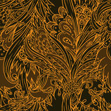 Seamless floral background. In  orange and brown Royalty Free Stock Photography