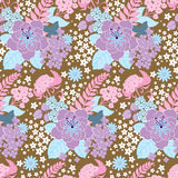 Seamless floral background. Seamless vector background, wallpaper, floral ornament with leaves and a lot of flowers Stock Photos