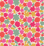 Seamless floral background with berries, floesrs, leafs  Endless fabric texture Stock Images