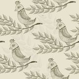 Seamless floral background with bird in vector. Seamless pictures with birds on branches in vector Stock Photos