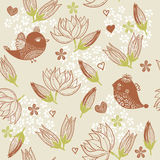 Seamless floral background with birds in vector Royalty Free Stock Photo