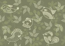 Seamless floral background with birds in vector. Floral seamless backgrounds for design of fabrics and wallpapers Royalty Free Stock Photography