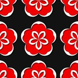 Seamless floral background. Black and red 3d pattern. Vector illustration Royalty Free Stock Photos