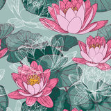 Seamless Floral background with blooming water lilies Royalty Free Stock Photos