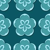 Seamless floral background. Blue green 3d pattern. Vector illustration Royalty Free Stock Photos