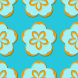 Seamless floral background. Blue and orange 3d pattern. Vector illustration Royalty Free Stock Images