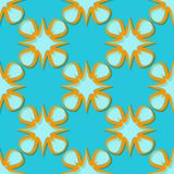Seamless floral background. Blue and orange 3d pattern. Vector illustration Stock Photography