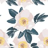 Seamless floral background with bouquets of beige peonies. royalty free illustration