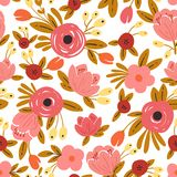 Seamless floral background with bouquets of roses. royalty free illustration