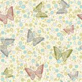 Seamless floral background with butterflies Royalty Free Stock Images