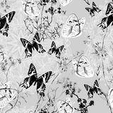 Seamless floral background with butterflies Stock Photo