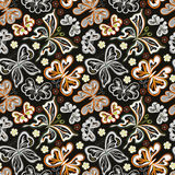 Seamless floral background with butterflies. Summer beautiful abstract pattern. Royalty Free Stock Images