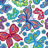 Seamless floral background with butterflies. Summer beautiful abstract pattern. Stock Images