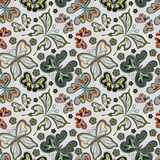Seamless floral background with butterflies. Summer beautiful abstract pattern. Stock Photography