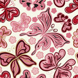 Seamless floral background with butterflies. Summer beautiful abstract pattern. Royalty Free Stock Photography