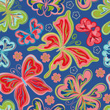 Seamless floral background with butterflies. Summer beautiful abstract pattern. Stock Image