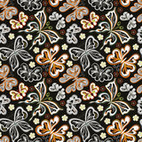 Seamless floral background with butterflies. Summer beautiful abstract pattern. Royalty Free Stock Photo