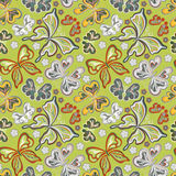Seamless floral background with butterflies. Summer beautiful abstract pattern. Royalty Free Stock Image