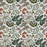 Seamless floral background with butterflies. Summer beautiful abstract pattern. Stock Photos