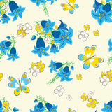 Seamless floral background with butterflies Royalty Free Stock Photo