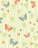 Seamless floral background with butterflies vector Stock Images