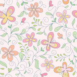 Seamless floral   background with butterfly. Seamless  pink floral   background with butterfly Stock Photo