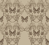 Seamless floral background with butterfly Stock Photos