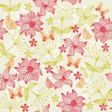 Seamless floral background with butterfly (vector) Stock Images