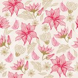 Seamless floral background with butterfly (vector). Floral background with butterfly, element for design,  illustration in vector Royalty Free Stock Images