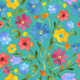 Seamless floral  background.  colorful field flowers dra. Wn watercolor on green blue. Vector Royalty Free Stock Image