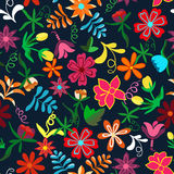 Seamless floral background.Colorful flowers and leafs on dark bl Royalty Free Stock Photo