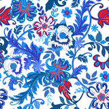 Seamless floral background. Colorful red and blue isolated flower Stock Images