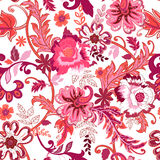 Seamless floral background. Colorful red isolated flowers. And leafs on white background. Design for prints, wallpaper, textile. Vector illustration Stock Photography