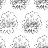 Seamless floral background, contours. Seamless Floral Background, Dandelions Flowers, Black Contours on White. Vector Stock Images