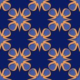 Seamless floral background. Deep blue and orange 3d pattern. Vector illustration Stock Images