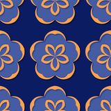 Seamless floral background. Deep blue and orange 3d pattern. Vector illustration Stock Photos