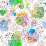 Seamless floral background. Doodle flowers and leafs. With imitation watercolor. Vector illustration Royalty Free Stock Photo