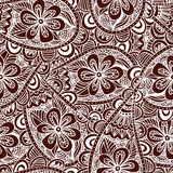 Seamless floral background. Ethnic doodle design pattern. Abstract henna ornament. Royalty Free Stock Photos
