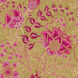 Seamless floral background. Fantasy flowers and paisley mix. Royalty Free Stock Image