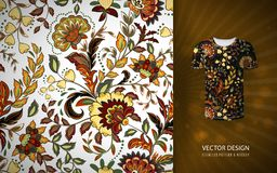 Seamless floral background. Fantasy flowers pattern, used on t-shirt mock up. Design for prints, wallpaper, textile. Vector illustration. Yellow brown vector illustration
