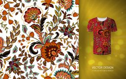 Seamless floral background. Fantasy flowers pattern, used on t-shirt mock up. Design for prints, wallpaper, textile. Vector illustration. Orange Royalty Free Stock Photos