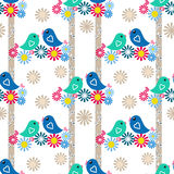 Seamless floral background with flowers and birds Stock Images