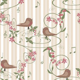 Seamless floral background with flowers and birds on white beige Stock Photography