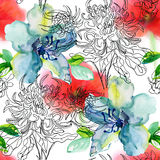 Seamless floral background with flowers. Stock Images