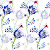 Seamless floral background with flowers. Watercolor painting Royalty Free Stock Photos