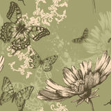 Seamless floral background with flying butterflies. Hand-drawing vector illustration